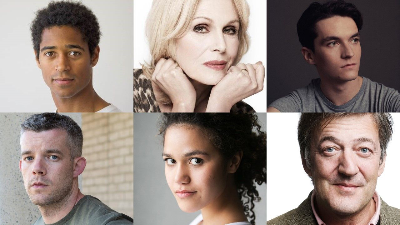 The Picture of Dorian Gray cast (clockwise): Alfred Enoch, Joanna Lumley, Fionn Whitehead, Stephen Fry, Emma McDonald, Russell Tovey